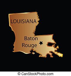 地図, 州, ルイジアナ, 金