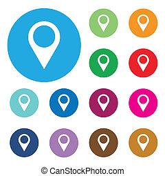 地図, 平ら, vecto, 単一, icon., ポインター
