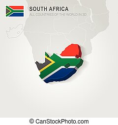 地図, 引かれる, アフリカ, 南, 灰色