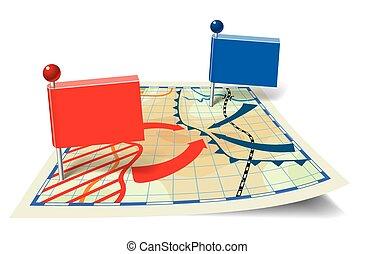 地図, 形態, ポインター, 架空である, 定型, 旗, 戦い
