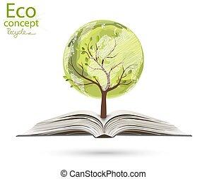 地図, 形態, 開いた, 上昇, 世界, 木, book.