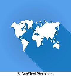 地図, 影, アイコン, 長い間, 世界