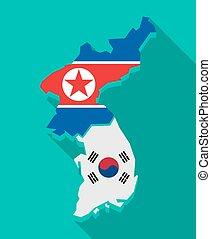 地図, 影, 韓国, 旗, 長い間