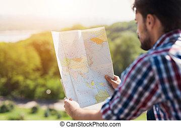 地図, 彼の, world., next., 手掛かり, 人, 手, 行きなさい, 拡大された, どこ(で・に)か, 考える, 彼