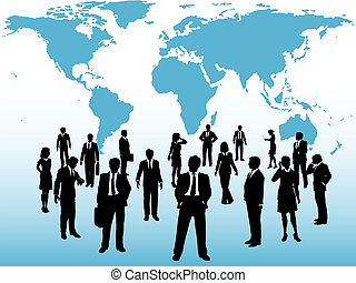 地図, 忙しい, ビジネス 人々, 連結しなさい, 世界の下