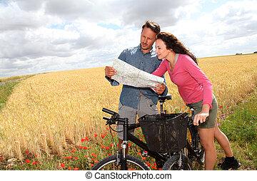地図, 恋人, 見る, 自転車乗馬, 乗車