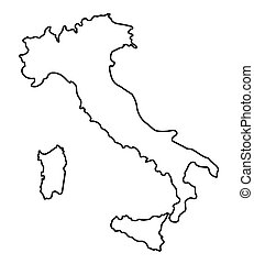 地図, 抽象的, イタリア, アウトライン, 黒