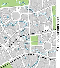 地図, 抽象的, ベクトル, イラスト, 都市