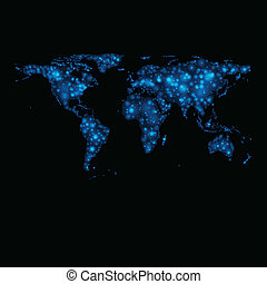 地図, 抽象的, ライト, ベクトル, 世界, 光沢がある