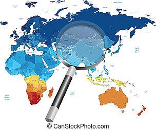 地図, 拡大鏡