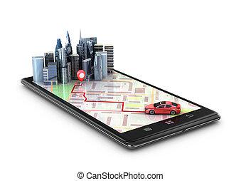 地図, 捜索しなさい, ナビゲーション, モビール, 自動車, 旅行, gps, coordinates., イラスト, 電話, 光景, 観光事業, concept., 3d