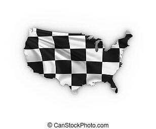 地図, 提示, checkered の 旗, アメリカ