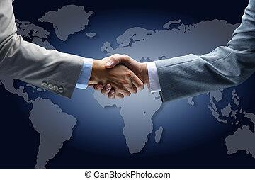 地図, 握手, 背景, 世界