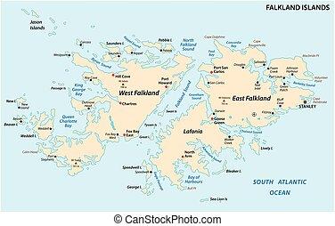 地図, 政治的である, また, malvinas, ベクトル, フォークランド諸国