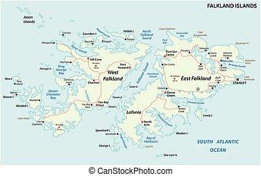 地図, 政治的である, また, malvinas, ベクトル, 島, falkland, 道
