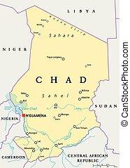 地図, 政治的である, チャド