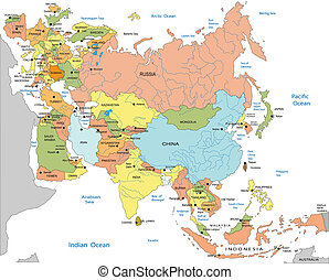 地図, 政治的である, ユーラシア