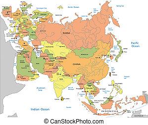 地図, 政治的である, ユーラシア, eurasiapolitical