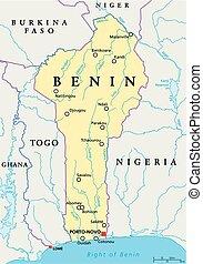 地図, 政治的である, benin