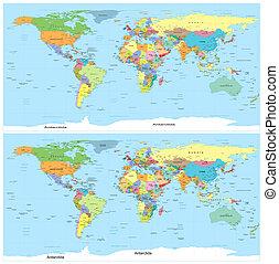 地図, 政治的である, vector., world.
