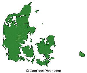 地図, -, 救助, 3d-rendering, danmark