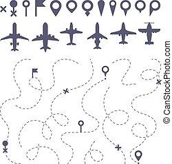 地図, 方向, セット, 飛行, 点を打たれた, アイコン, ルート, ライン。, 飛行機, 小道, 道, ベクトル, 飛行機, 方向, 線, 飛行機, 建築者