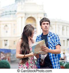 地図, 方向, 女, 中心, 恋人, 若い見ること, 都市, 提示, 人