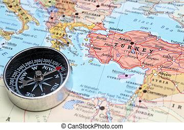 地図, 旅行ディスティネーション, トルコ, コンパス