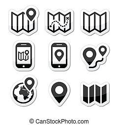 地図, 旅行, セット, アイコン