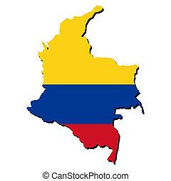 地図, 旗, の, コロンビア