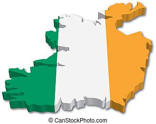 地図, 旗, アイルランド, 3d