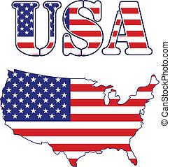 地図, 旗, アメリカ, テキスト