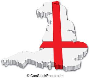 地図, 旗, イギリス\, 3d