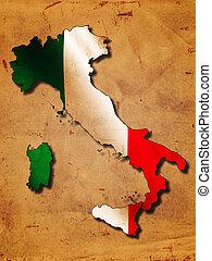 地図, 旗, イタリア語