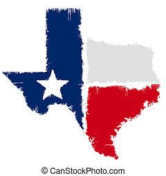 地図, 旗, グランジ, テキサス