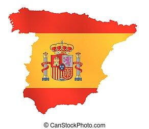地図, 旗, シルエット, スペイン