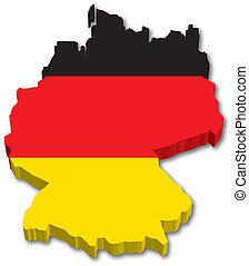 地図, 旗, ドイツ, 3d