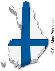 地図, 旗, フィンランド, 3d