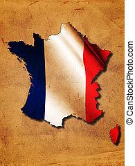 地図, 旗, フランス語