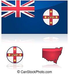地図, 旗, 南, 新しい, ウェールズ