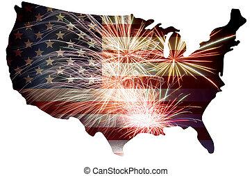 地図, 旗, 花火, シルエット, アメリカ