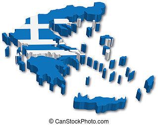 地図, 旗, 3d, ギリシャ
