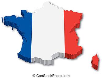 地図, 旗, 3d, フランス