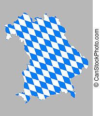 地図, 旗, bavaria