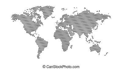 地図, 星, illustration., 点を打たれた, 平ら, ユダヤ人, map., 隔離された, イラスト, david, ベクトル, 黒い背景, 世界, 白, halftone, design.