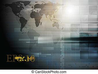 地図, 暗い, ベクトル, デザイン, 世界, 技術