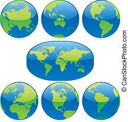 地図, 有色人種, イラスト, ベクトル, 地球儀, 世界