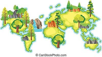 地図, 森林, 世界