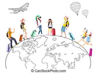 地図, 概念, のまわり, 人々, 旅行, 世界的である, 世界