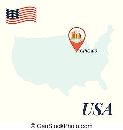 地図, 概念, アメリカ, ピン, シカゴ, 旅行